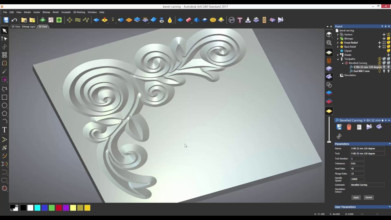 Artcam standard tutorials bevel carving youtube