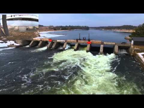 DJI Phantom 3 Professional Flight River Road Dam with an Observer
