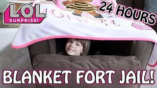 L.O.L. SURPRISE BLANKET FORT JAIL FOR 24 HOURS! I FOUND AN LOL SURPRISE BIGGIE PET WAVE 2 INSIDE!!