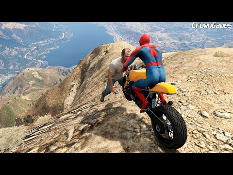 GTA 5 Spiderman Motorcycle Fails | Ragdoll Falls Ep.1 [Euphoria Physics Funny Moments]