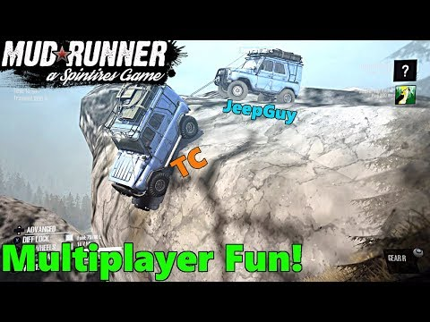 SpinTires Mud Runner: Xbox One, Multiplayer FUN! w/ TC and JeepGuy | Off a Cliff!?