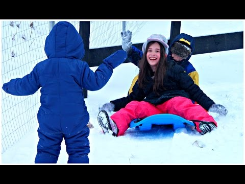 Winter Playground Fun kids sleigh and Snow Time - Brasov Vacation Video for Kids