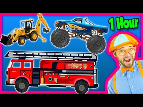 Thumbnail: Videos for Kids 1 Hour Compilation - Fire Trucks | Monster Trucks | Backhoe - Blippi