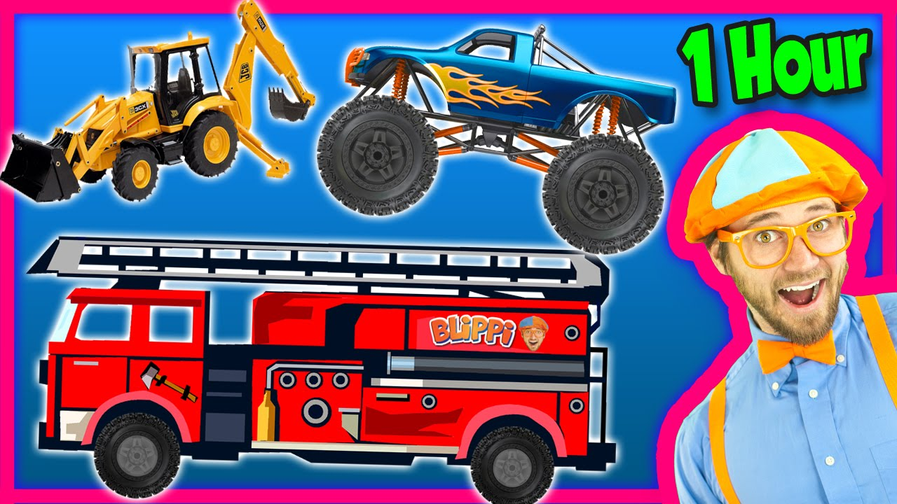 Videos For Kids 1 Hour Compilation Fire Trucks Monster Trucks Backhoe Blippi Youtube