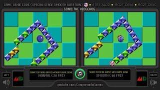 Sonic the Hedgehog (20 fps vs 60 fps) Special Stage Comparison (Normal vs Smoth mode)