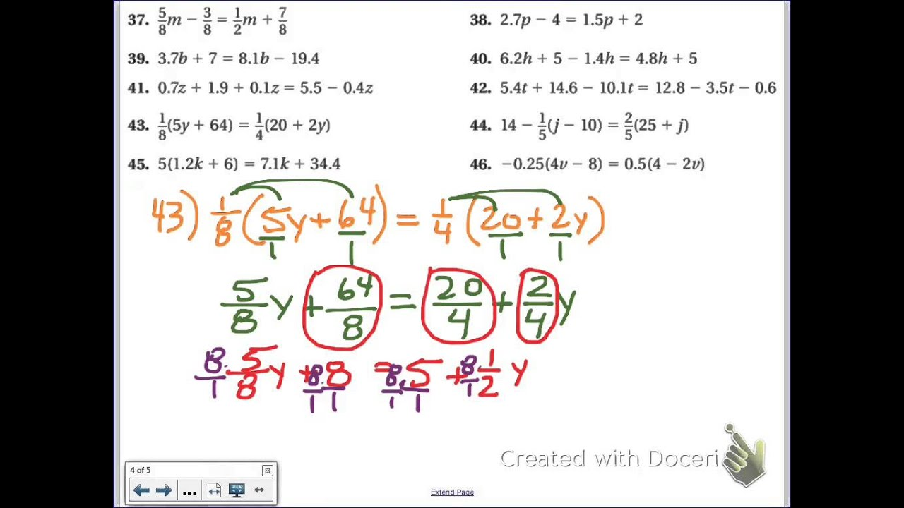 Common Core Math Solving Multi Step Equations Distributive Clearing The Fraction