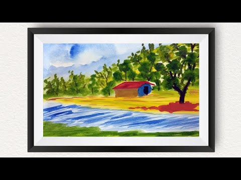 Landscape Watercolor Painting for Kids Easy | How to draw a beautiful riverside scenery step by step