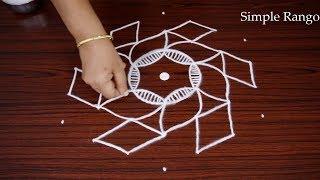 Simple Appartment kolam design | Very Easy Rangoli design with dot for Beginners | Muggulu design