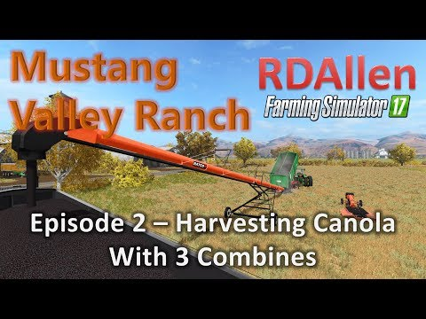 Farming Simulator 17 MP Mustang Valley E2 - Harvesting Canola with 3 Combines!