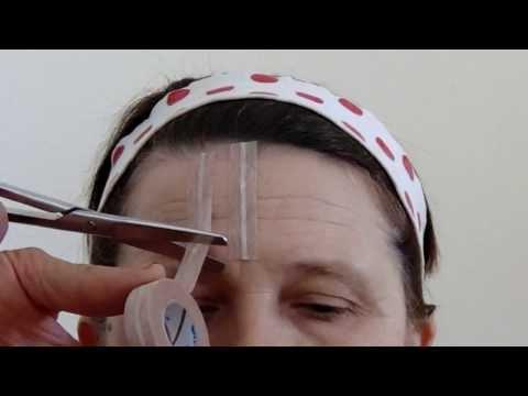 Разглаживание морщин на лбу и в уголках глаз лейкопластырь Серебряные мостики часть 1