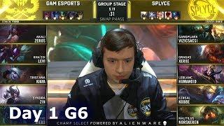 GAM vs SPY | Day 1 S9 LoL Worlds 2019 Group Stage | GAM Esports vs Splyce