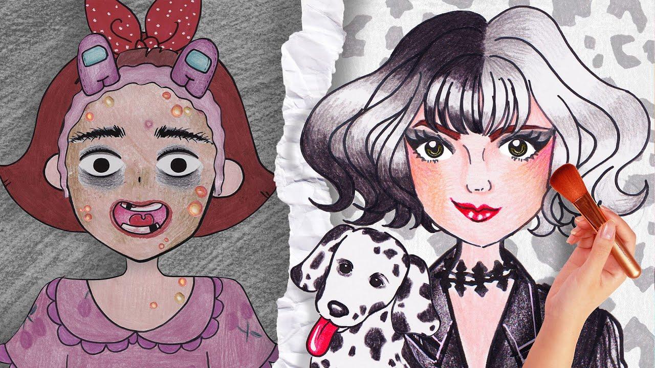 CRUELLA DE VIL Makeup by Seulgi  - Stop Motion Paper