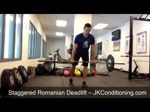 staggered romanian deadlift youtube
