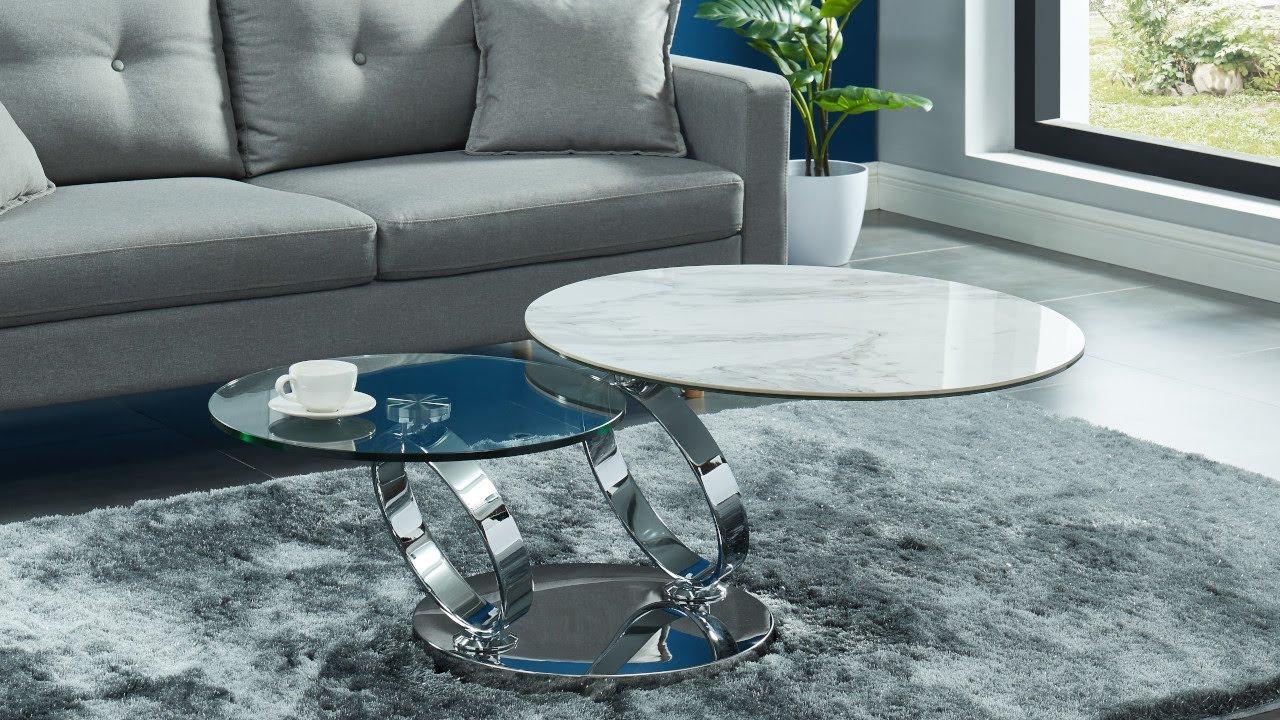 Table basse design modulable verre trempé & céramique JOLINE