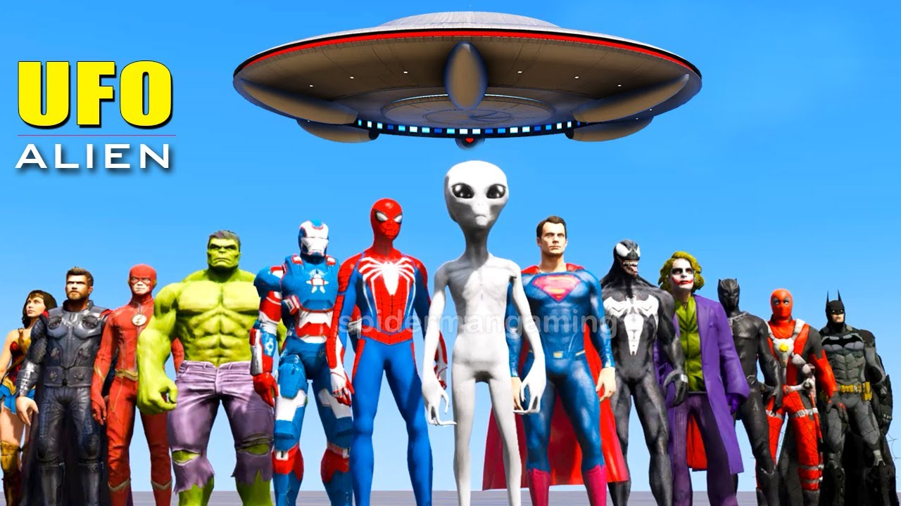 All Super-Héros Triple Ride Challenge - SUPERHEROES Abducted by Alien and UFO - GTA 5 MODS