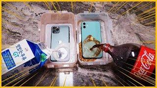 [ENG SUB] 아이폰11/아이폰11프로에 우유와 콜라 넣고 10시간 얼렸더니...?! [수리비 140만원?!]