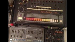 Waldorf 2-Pole demo with Roland TR-808 and MC-202