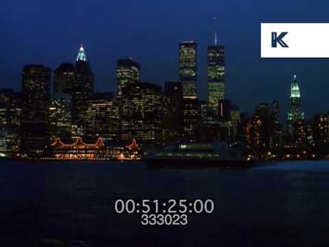 1990s New York Skyline at Night, Manhattan, 35mm