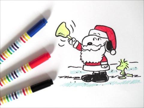 サンタクローススヌーピーの描き方 スヌーピーキャラクター クリスマス