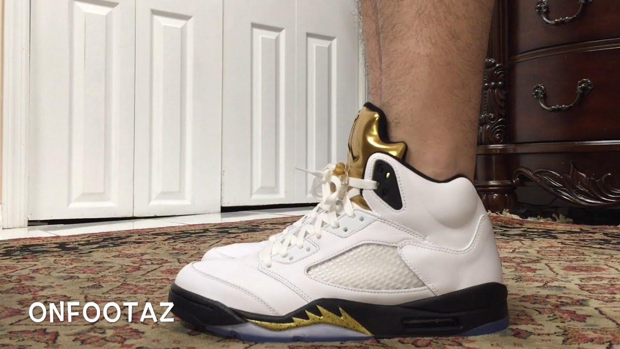 official photos 0b6ac 79f6d Air Jordan 5 V Metallic Gold Coin On Foot