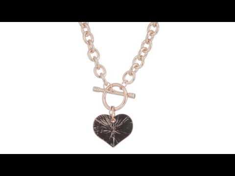 GUESS Logo Heart Charm Toggle Necklace  SKU:8826750