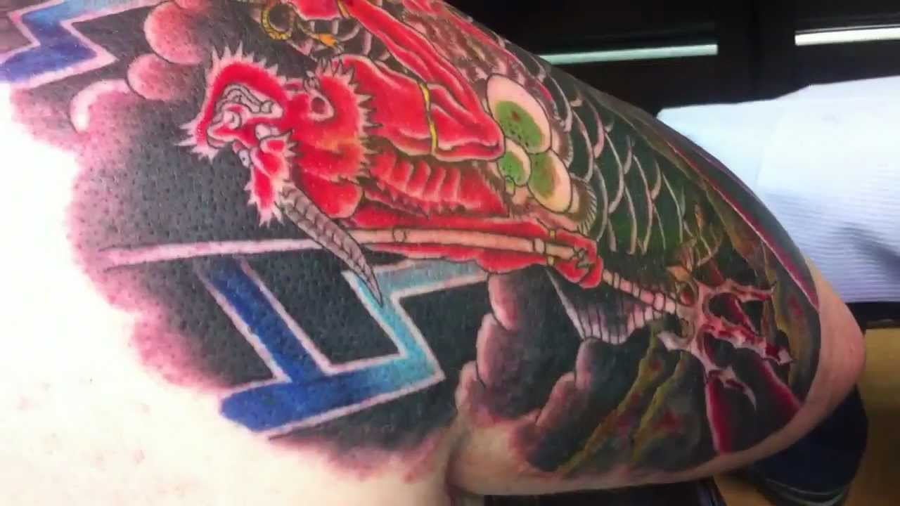 Tattoo of ONI riding koi fish done by TUfftito, Euphoria Ink 2 - YouTube