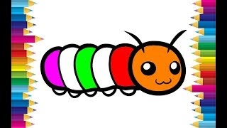 Learn colors with caterpillar coloring pages for kids for children
