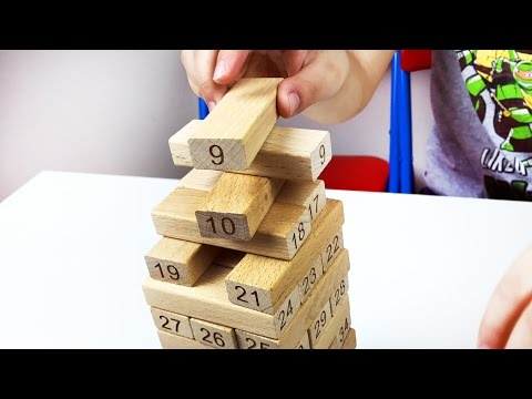 Let's play kids with Number building blocks. Wooden Jenga Game. Count to 51.