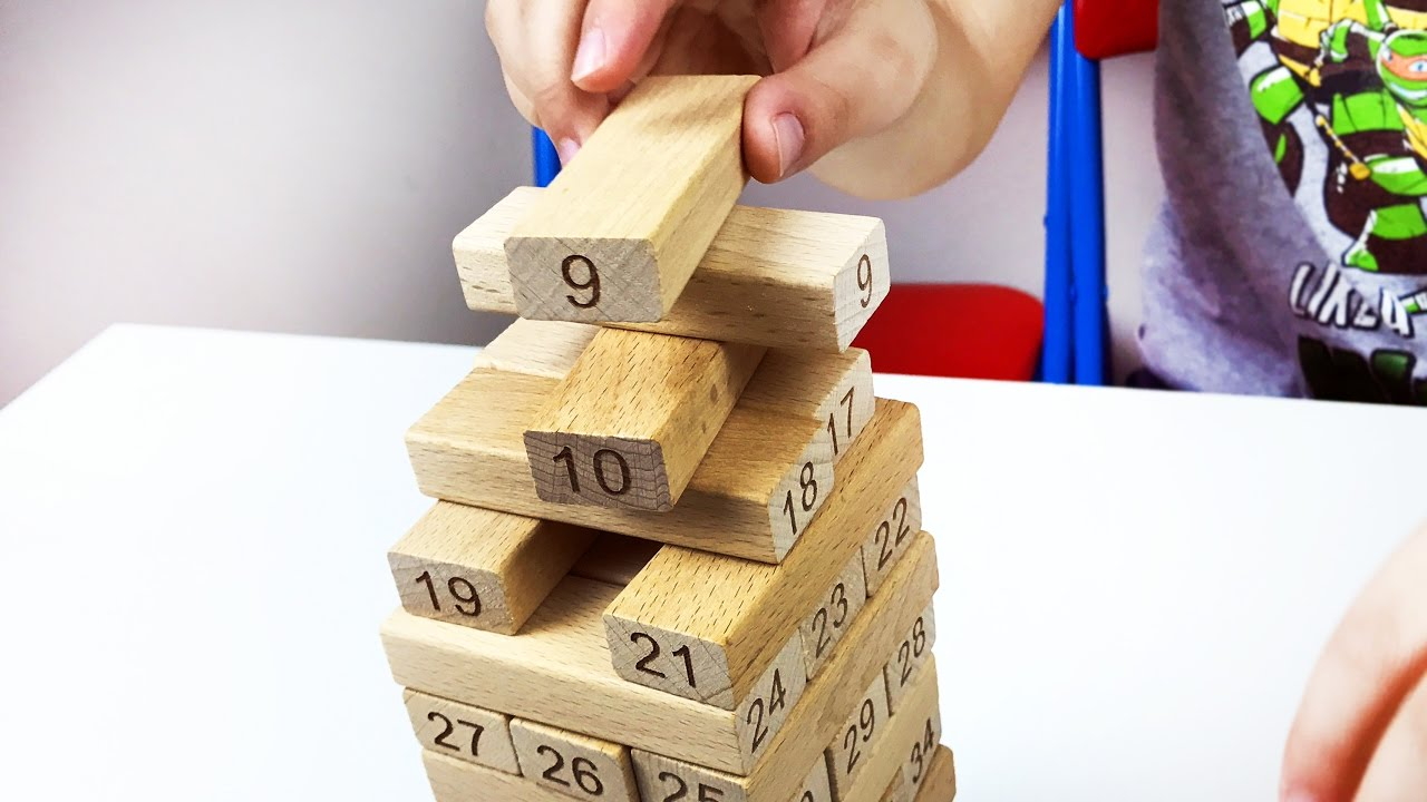 13d226268f6 Let s play kids with Number building blocks. Wooden Jenga Game. Count to 51.