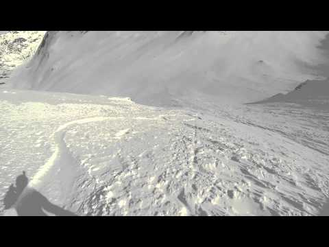 Avalanche Wall Snowboard Descent - Silverton Mountain Guides Alaska Heli-Ski - GoPro