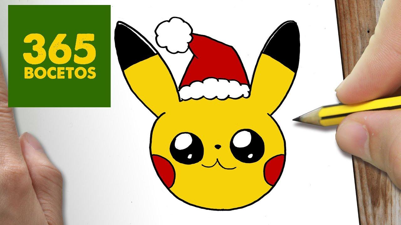 COMO DIBUJAR UN PIKACHU PARA NAVIDAD PASO A PASO Dibujos kawaii navideños , How to draw a Pikachu , YouTube