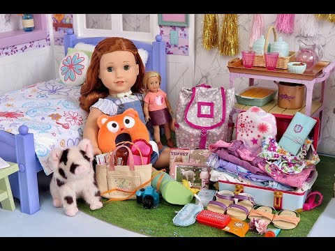 Packing American Girl Blaire Wilson's Bags For Vacation - AG Doll Clothes & Travel Luggage!