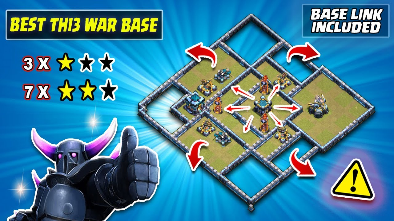 10 ATTACKS = 3 x 1 STAR!! (5000-5400 Trophy Range) TH13 Trophy & CWL Base WITH LINK /Clash of clans
