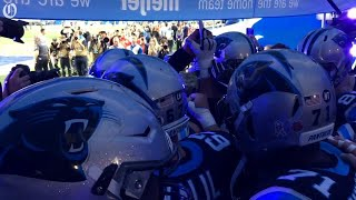 Panthers huddle before their game against the Detroit Lions thumbnail