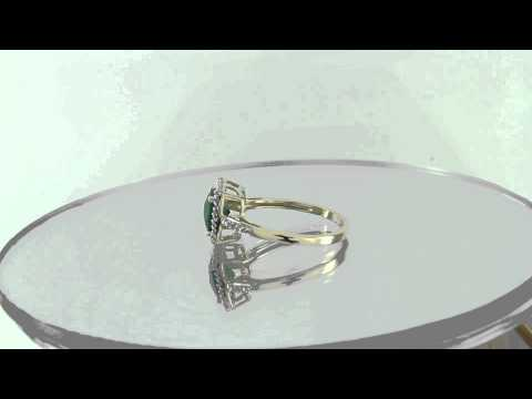 Estate 1.17ct Emerald & Diamond 14k Yellow Gold Engagement Ring