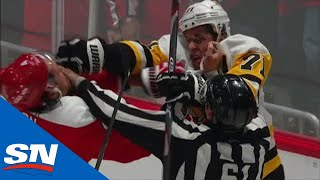Evgeni Malkin And Brenden Dillon Keep Fighting As Referee Tries To Separate Them