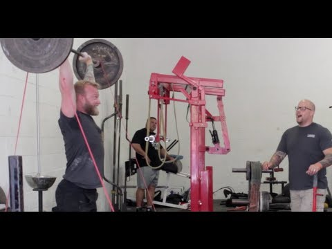 Barbell Shrugged doing Banded Cleans at Westside Barbell