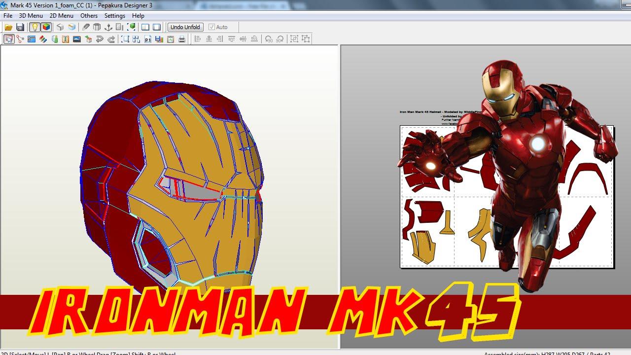Ironman Mk45 helmet pepakura !!! - YouTube
