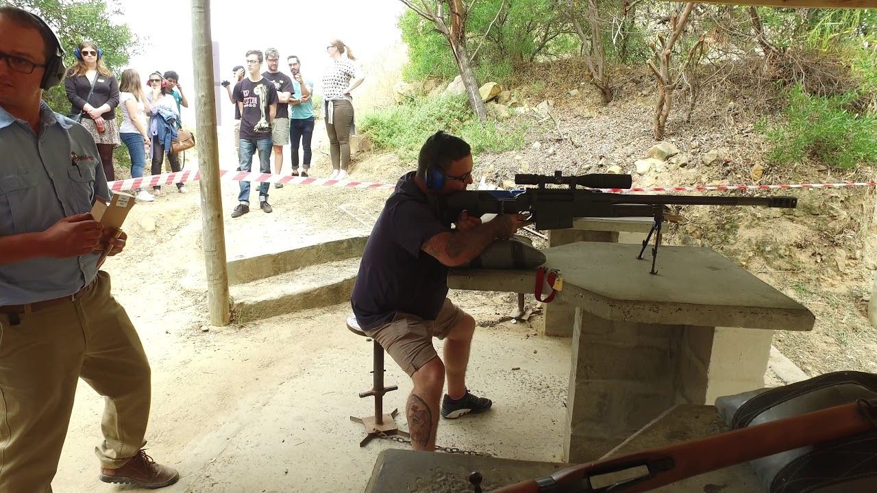 Shooting a 50 cal. Sniper for the first time