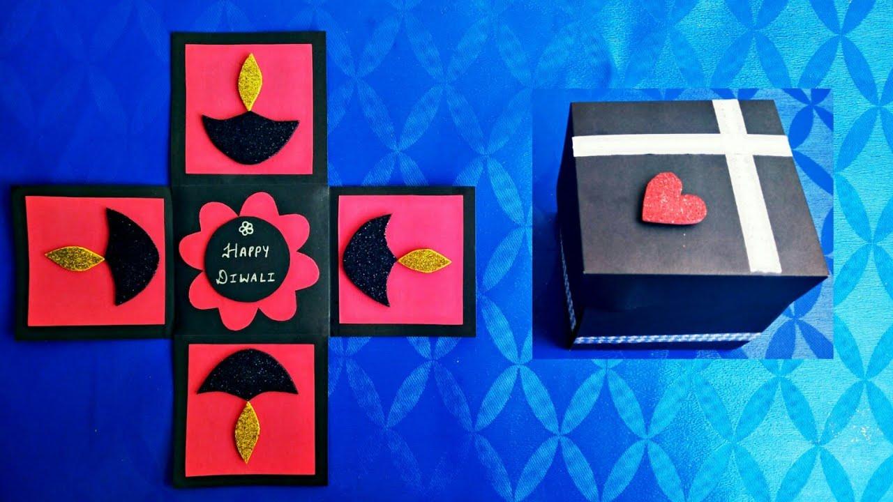 diy diwali cards  diwali explosion box  diwali pop up