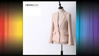 Women Tweed Pink Blazer Long Sleeve
