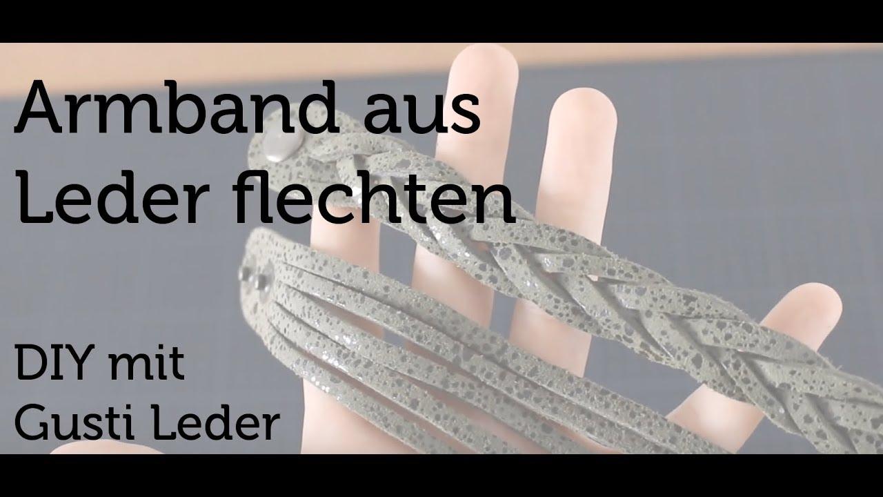 Lederarmband flechten  Tutorial - Armband selbstgemacht | Flechten | Verzierung ...