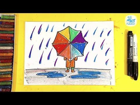 Как нарисовать дождь карандашом для детей