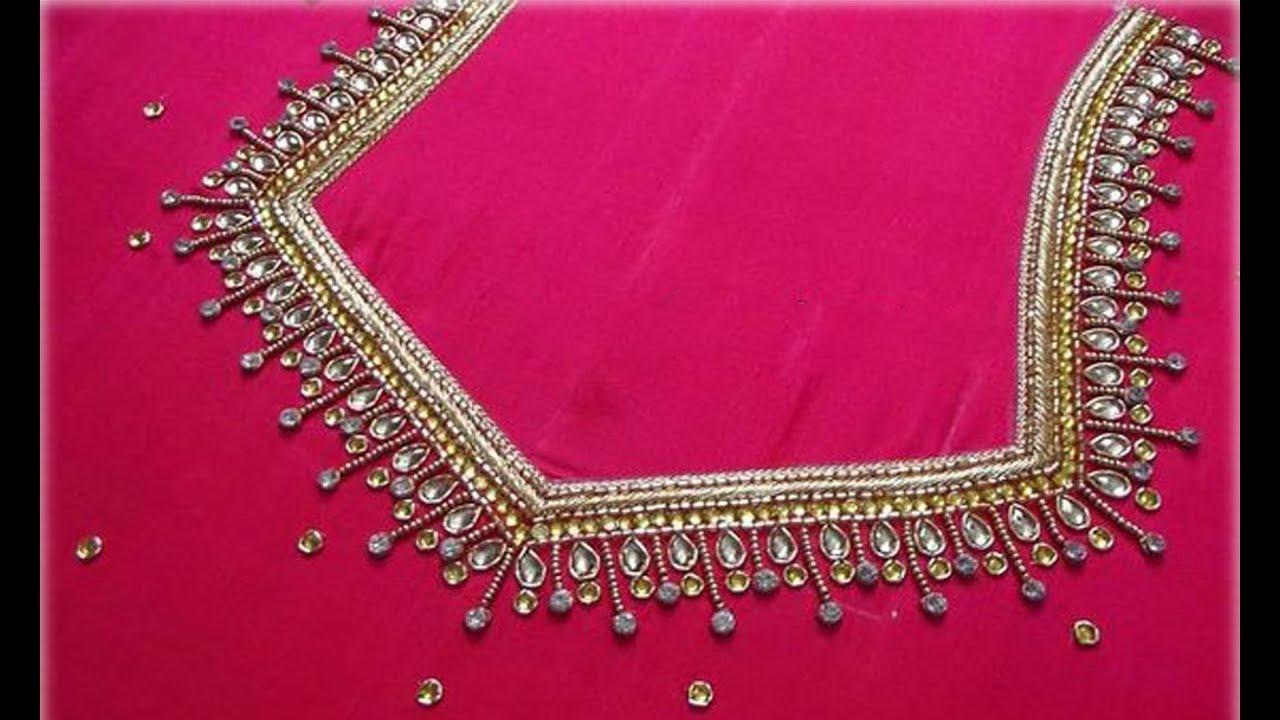 Amazing Blouse Back Neck Designs For Silk Pattu Saree   Aari Work Blouse Embroidery Work Blouse Neck #1