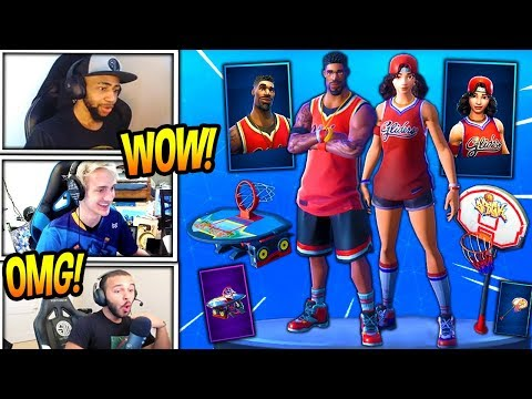STREAMERS REACT TO *NEW* TRIPLE THREAT & JUMPSHOT SKINS + SLAM DUNK AXE & HANG TIME GLIDER! *EPIC*