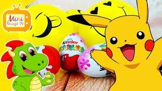 Balony Emoji, Pokemony, Jajka Kinder Niespodzianki, Pikachu, Emotki Film | Filmik Dla Dzieci