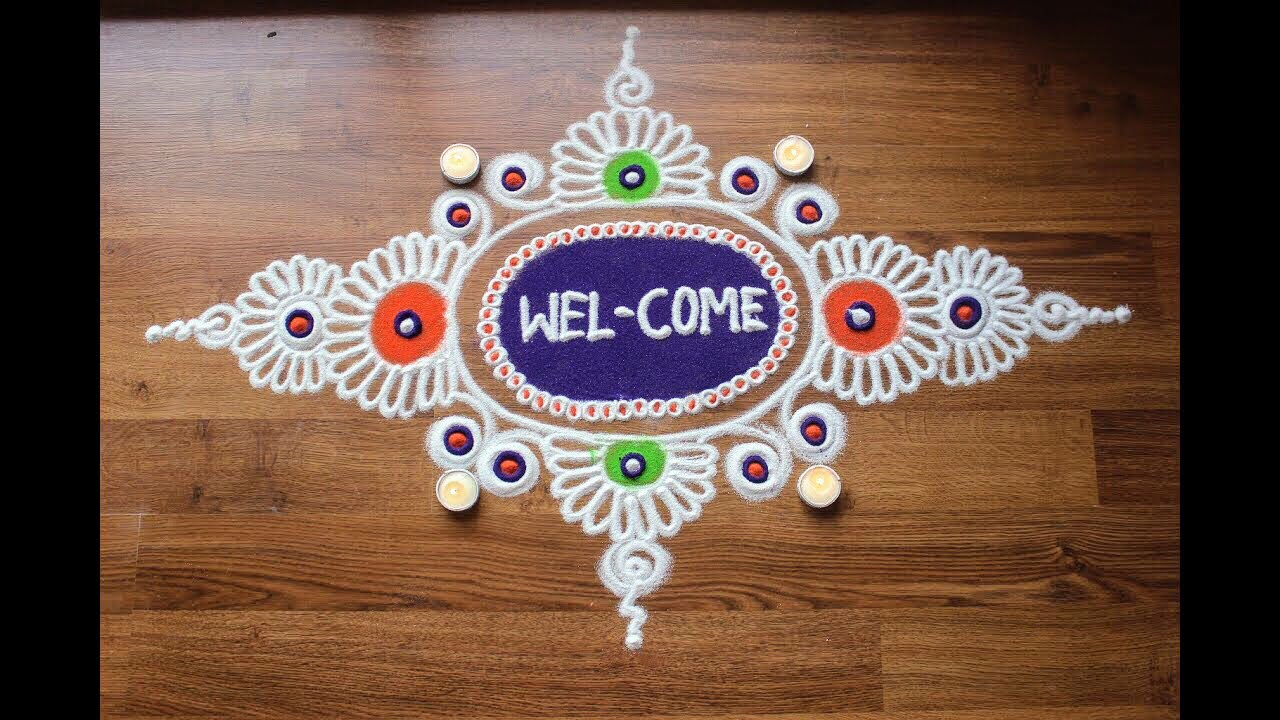 simple free hand rangoli designs with colours diwali