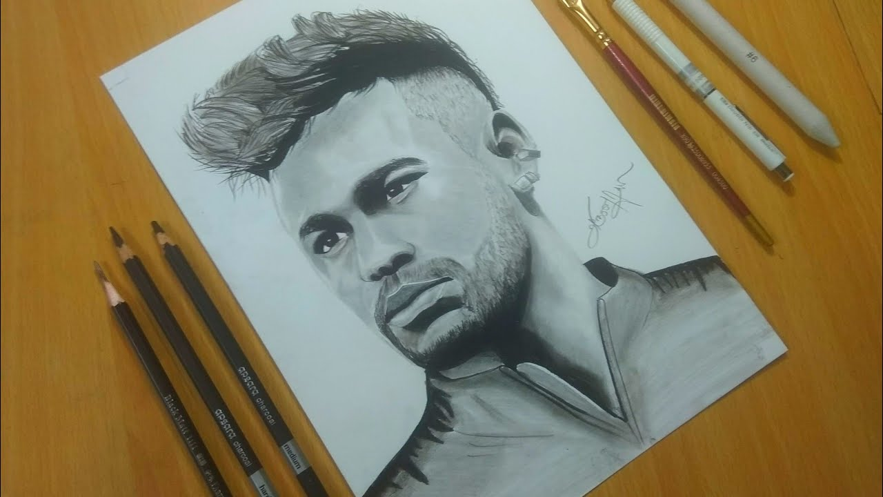 Neymar hyper realistic drawinggraphite pencil and charcoal
