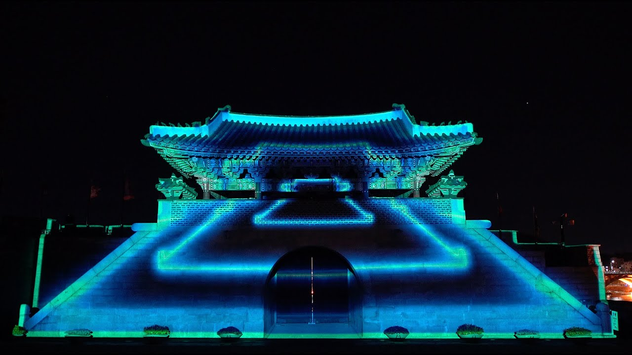 "[4K/ENG Sub]Jinjuseong Fortress Media Facade, ""Jinjuseong, with Wings of Light"""