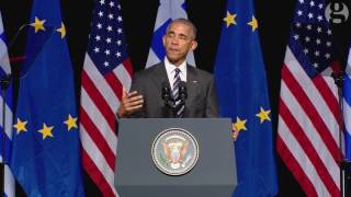 President Obama speaks during final trip to Europe – video